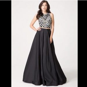 Bebe Black embellished two piece gown